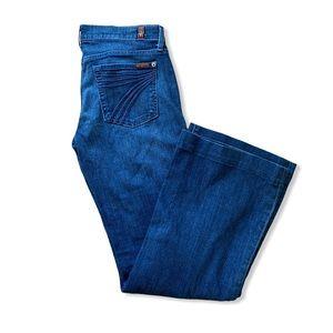 7 For All Mankind Dojo Dark Blue Wash Flare Jeans